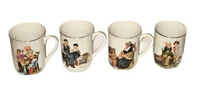 $ CDN24.19 • Buy Norman Rockwell Museum Set Of 4 Collectible Gold Trimmed Coffee Mugs 1982 Japan