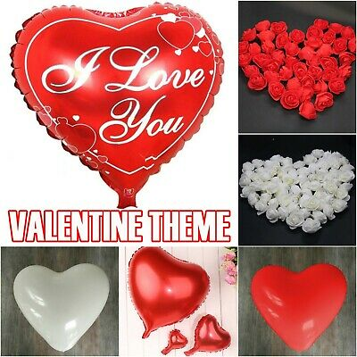 10-100 Heart I Love You Balloons Valentines Day Romantic Baloons His/Her Gifts • 1.39£