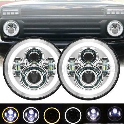 AU83.81 • Buy 2x7 In LED Headlights Chrome  Angel Eyes For Jeep Wrangler VW Beetle Classic