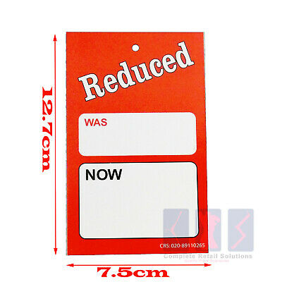 £1.99 • Buy 50x LARGE REDUCED WAS NOW PRICE TAGGING GUN CARD PRICING HANGER SWING TICKETS