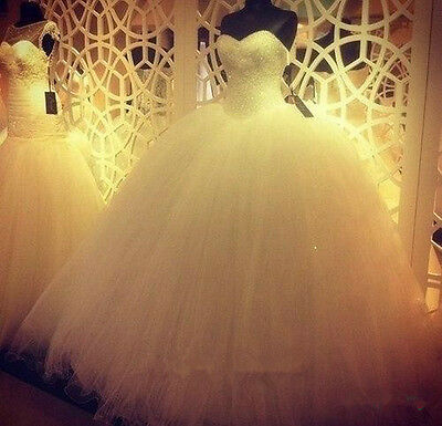 AU168.16 • Buy Sparkle Beaded Tulle Sweetheart Wedding Dress White/Ivory Lace-up Bridal Gown