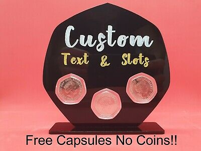 50p Coin Stand Custom Acrylic Bespoke 50 Pence Coin Display Holder No Coins • 16£