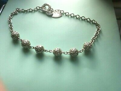 Tiffany Silver Necklace 6 Silver Baubles, Double Heart, Bar And Ring Fastener.  • 179£