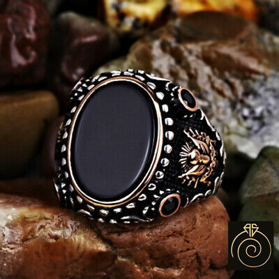 $113 • Buy Mens Silver Onyx Signet Ring Engraved Black Stone Ottoman Eternity Band Jewelry