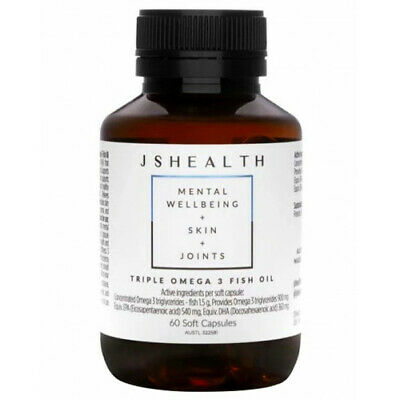 AU39.95 • Buy Js Health Triple Omega 3 Fish Oil 60c - Mental Wellbeing + Skin + Joints