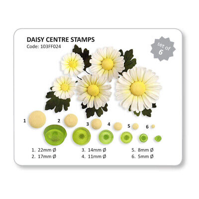 JEM Set Of 6 DAISY CENTRE STAMPS Flower Plastic Icing Cut Out Cutters Sugarcraft • 4.99£