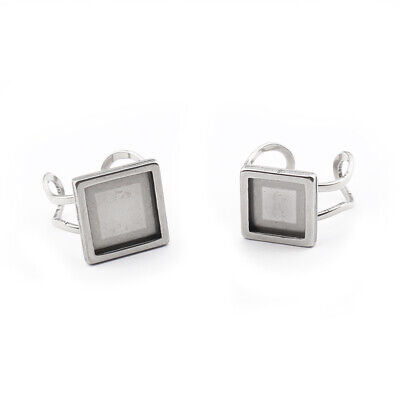 £3.59 • Buy 4x Stainless Steel Square 10/12mm Cabochon Ring Base Setting Blanks Rings Making