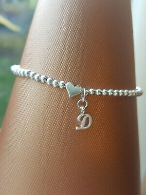 £3.75 • Buy Women's Ball Bead Stretchy Silver Plated Initial Letter Heart Stacking Bracelet