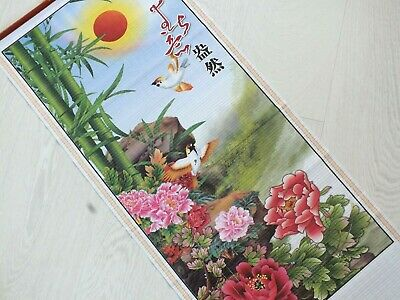 Chinese Bamboo Cane Feng Shui Wall Hanging Scroll Japanese Peony Bird Peace 8-3 • 8.29£