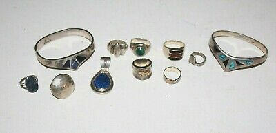 $ CDN360.60 • Buy 174g LOT Sterling Silver 925 950 Cuffs Rings Pendant Lapis Mexico NOT SCRAP