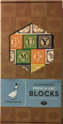 $49.99 • Buy Uncle Goose French ABC Wooden Blocks Lindenwood Hand Made USA  2015 New Box Open
