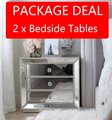 AU599 • Buy 2 X SILVER Beaded Mirrored Bedside Tables Nightstand 3 Drawer Mirror Furniture