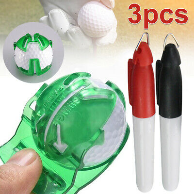2 Pens With Free Ten Golf Ball Marker  Putting Tool Sign Line Drawing Finger • 3.09£