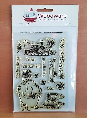 Woodware Clear Stamps - Bathtime With Sentiments - NEW - FREE P&P • 3.99£