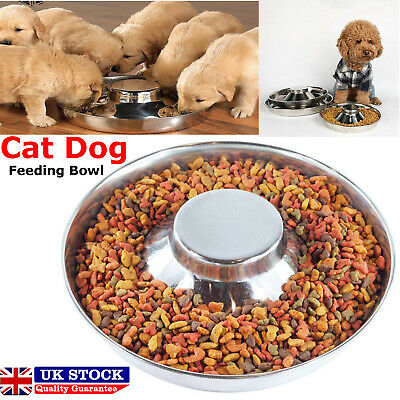 Puppy Dog Pet Cat Litter Food Feeding Weaning Silver Stainless Feeder Bowl Dish • 9.99£
