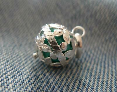 Sterling Silver Harmony Ball Angel Caller Mexican Bola Pendant Green • 19£