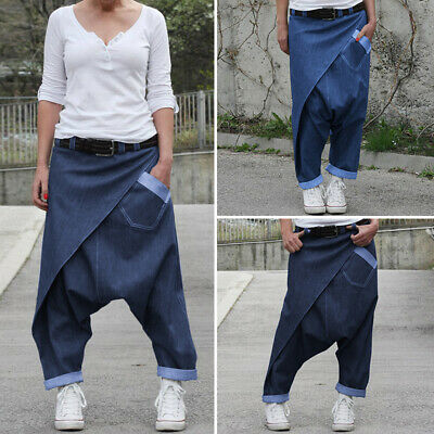 Women Ladies Loose Pants Solid Drop Crotch Elastic Harem Jogger Work Trousers • 10.99£