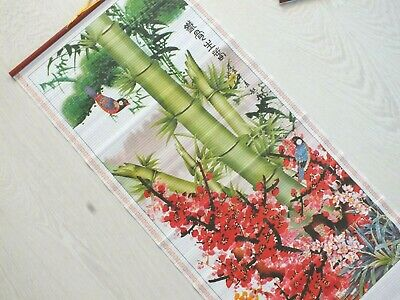 Chinese Bamboo Cane Feng Shui Wall Hanging Scroll Japanese Love Bird Blossom 7-5 • 8.29£