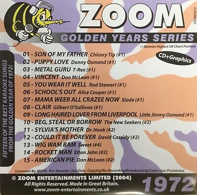 £6.99 • Buy Zoom Golden Years CDG Disc- Karaoke Hits From The Year 1972
