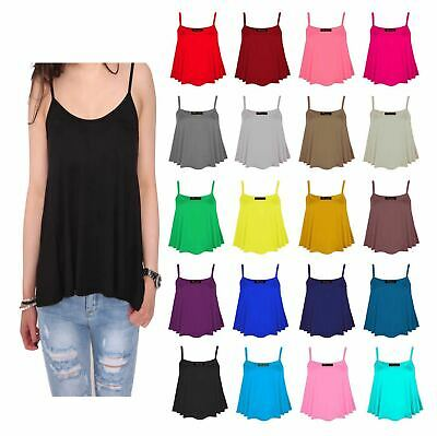 £5.99 • Buy New Womens Plain Swing Vest Sleeveless Top Strappy Cami Ladies Plus Size Flared