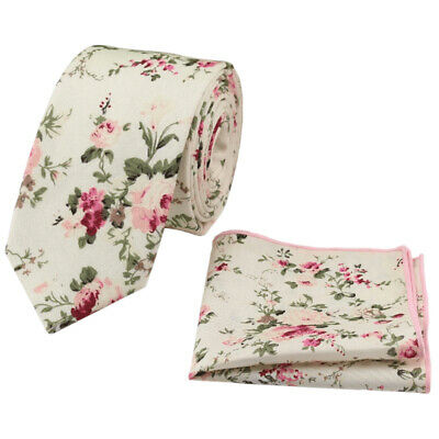 Cream Floral Cotton Wedding Skinny Tie & Pocket Square Set. Great Quality. UK. • 10£