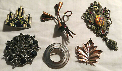 $ CDN20 • Buy Lot Of 5 Vintage Fashion Brooches Costume Jewellery Sarah Coventry Coro Sterling