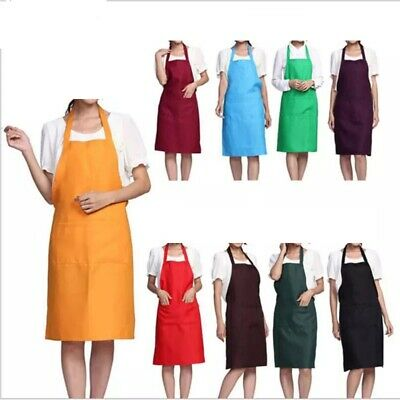 £3.05 • Buy Plain Apron Front Pockets Chefs Butcher Kitchen Cooking-Baking-Craft-Catering-UK