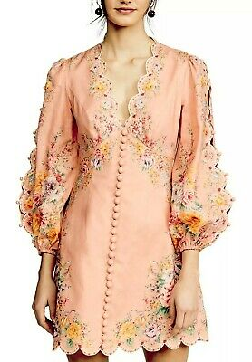 $420 • Buy NEW Zimmermann Zinnia Coral Floral Long Sleeve Design MINI Dress AU 0,1,2