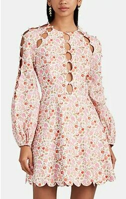 $255 • Buy NEW Zimmermann Design Goldie Pink Scalloped Floral Long Sleeve MINI Dress 0,1,2