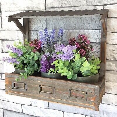 Shabby Chic Vintage Style Wooden Wall Planter Pots Herb Window Box Garden Plant • 20.99£