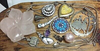 $ CDN9.78 • Buy LOT OF VINTAGE STERLING SILVER NECKLACES, PENDANTS & CHARMS 74.8g.  (E42)