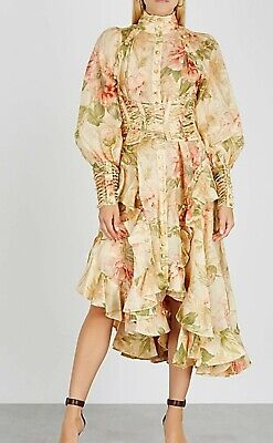 $670 • Buy NEW Zimmermann Espionage Corset Design Floral  Long Sleeve MIDI Dress 0 / US 2