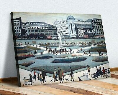 LS Lowry Piccadilly Gardens CANVAS WALL ART PICTURE FRAMED PRINT PAINTING • 21.99£