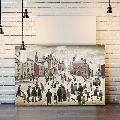 LS Lowry People Standing About CANVAS WALL ART PRINT ARTWORK PAINTING FRAMED • 24.99£