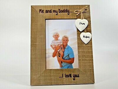 £13.99 • Buy Me And My Daddy / Grandad Personalised Driftwood Photo Frame | Birthday Gift