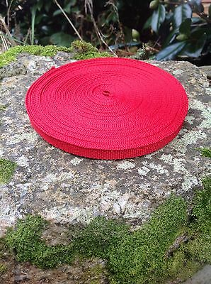 10mm Red Webbing Polypropylene Small Bag Wrist Strapping 10 Metre Roll • 2.60£