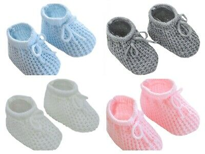 Newborn Baby Boy Girl Knitted Bootees Booties Blue Pink White Grey 0-3 Months • 2.99£