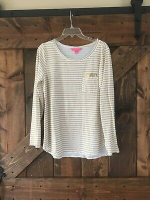 $25 • Buy Lilly Pulitzer Louella Top Gold Metallic Glitter Treasure Stripe Size Large