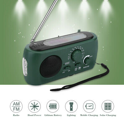 Solar Power Hand Crank USB AM/FM Radio With 3 LEDs Flashlight For Camping Hiking • 18.32£