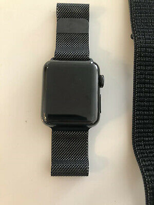 $ CDN121.30 • Buy Apple Watch Series 2 38mm Stainless Steel Case Space Black Milanese Loop BUNDLE