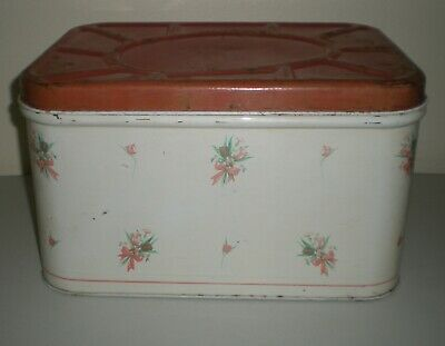 $9.99 • Buy Vtg National Can Company Metal TIN BREAD BOX Sweet Cottage Country Shabby Chic