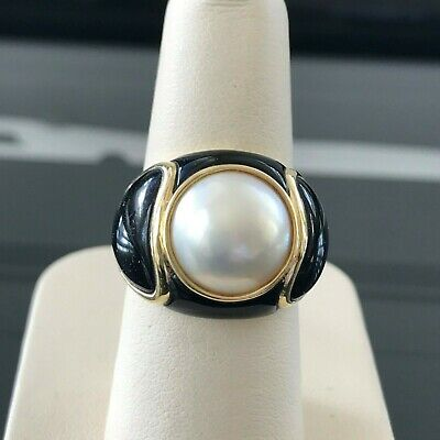 $1495 • Buy 11.3 Mm Mabe Pearl Black Onyx 14k Yellow Gold Ring Size 7