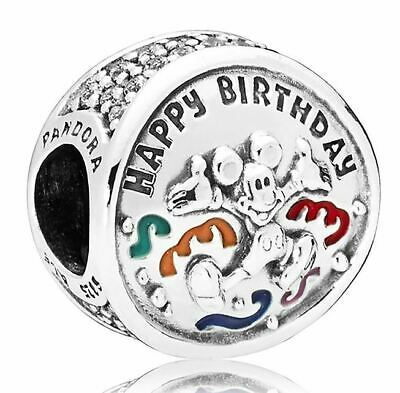Brand New Genuine Pandora Disney 'MICKEY MOUSE HAPPY BIRTHDAY - HBD' Charm Bead • 19.99£