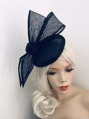 Navy Blue Bow Fascinator Formal Ladies PillBox Hat Wedding AscotRaces Hatinator • 29.99£