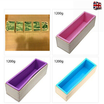 Wood Loaf Soap Mould With Silicone Mold Cake Making Wooden Box 1.2kg Soap • 9.99£