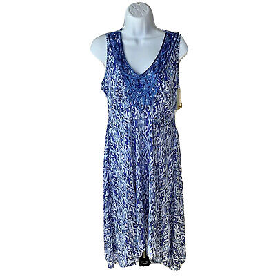World Unity Dress Size Small Blue Boho Pattern Sleeveless High Low Hem New • 28.78£