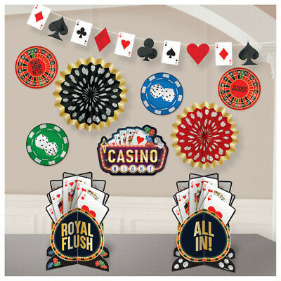 $15.95 • Buy Casino Vegas Roll The Dice Decorating Kit Card Game Gambling Night Decorations