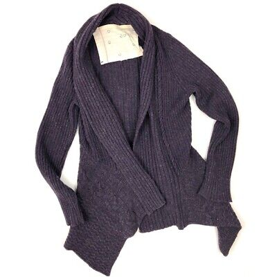 $ CDN58.69 • Buy Anthropologie Canary Large Open Front Cardigan Knitting Needles Sweater Purple