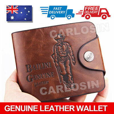 AU15.85 • Buy OZ Genuine Leather Cowhide Mens Wallet Brown Business Credit Card Holder Stylish