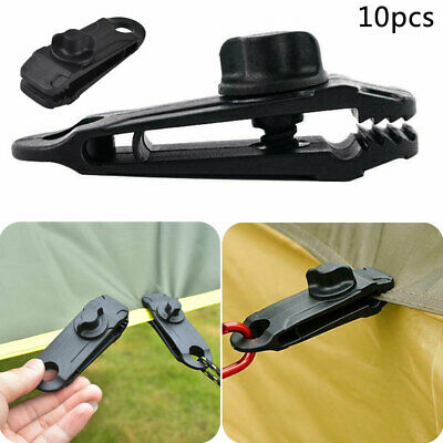 10Pcs Tarp Clips Lock Grip Awning Clamp Set Instant Clip Tent Accessories Black • 6.55£